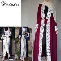 Élégant Musulman Abaya Robe Dentelle Cardigan Long Robes Kimono Jubah Ramadan Arabe Dubaï Turc Thobe Islamique Prière Vêtements