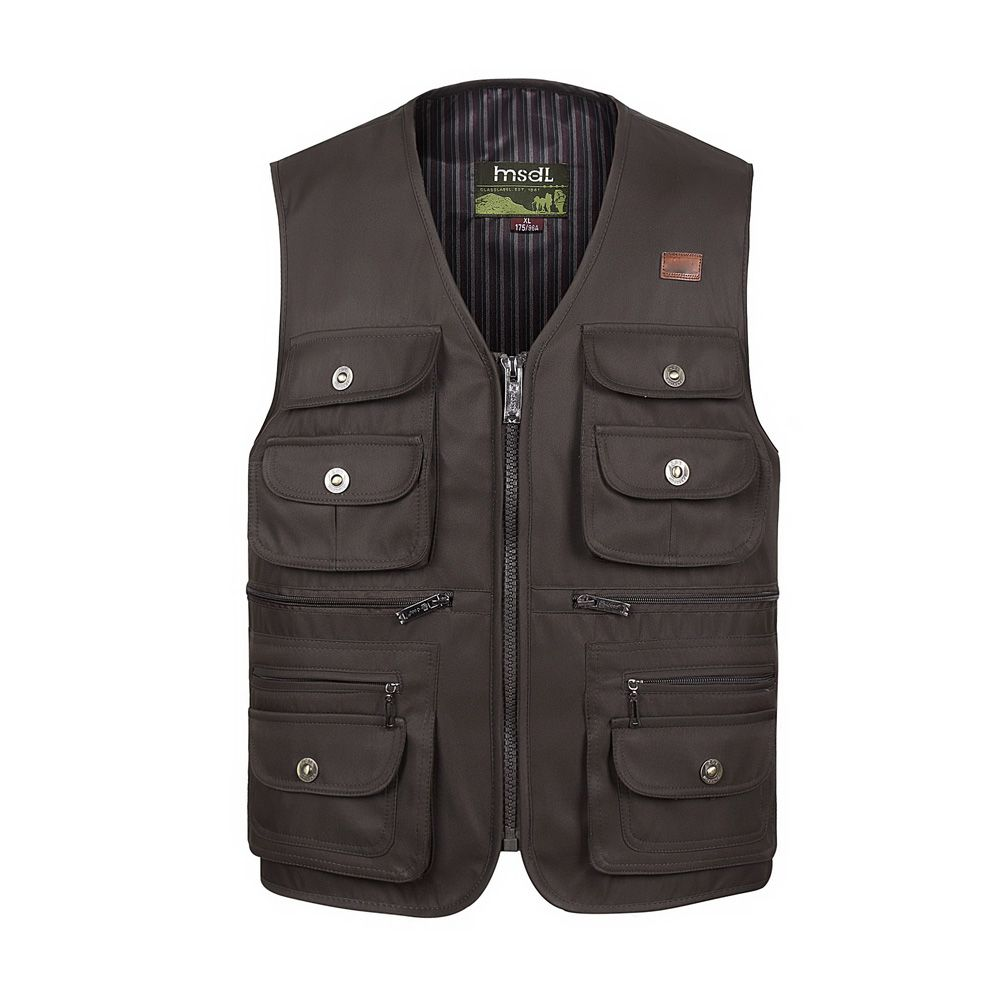 Men Large Size XL-4XL <font><b>Motorcycle</b></font> Casual Vest Male Multi-Pocket Tactical Fashion Waistcoats High Quality Masculino Overalls vest