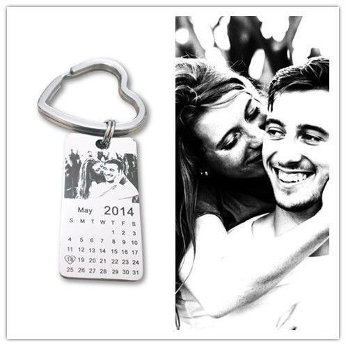 1 pc personnalisé photo calendrier porte-clés amour date cadeau en acier inoxydable souvenir porte-clés étiquette 20mm X 40mm