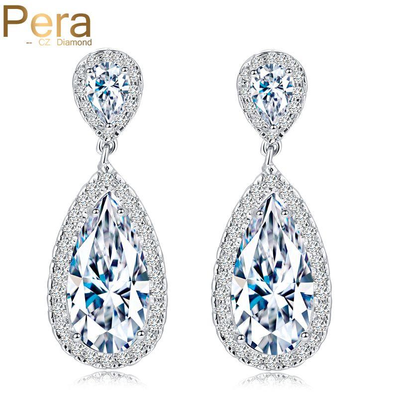 Pera classique grande goutte d'eau AAA + zircon cubique couleur argent de luxe de mariage de mariée longues boucles d'oreilles bijoux pour les mariées E016