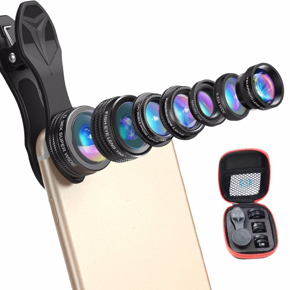 Ulanzi 7 in 1 Universal Clip-On Cell Phone Lens Kit,HD Kaleidoscope+Zoom Telephoto+Fisheye+Wide Angle+Macro+0.36X+CPL for iPhone