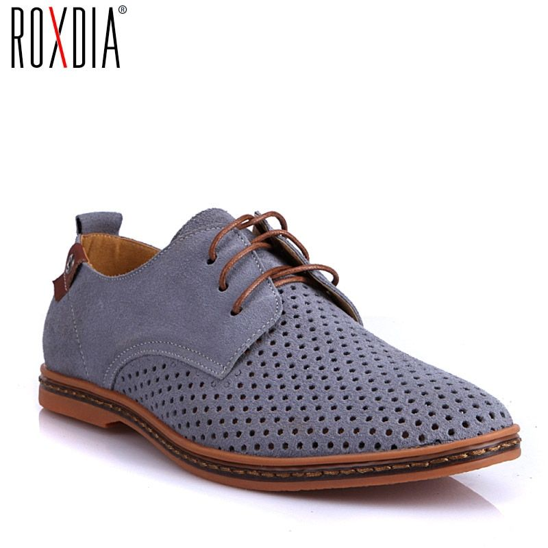 ROXDIA New Fashion Spring Summer Suede Men Flat Casual Shoes Flats Driver Footwear Breathable Lace Up Plus Size 39-48 RXM766