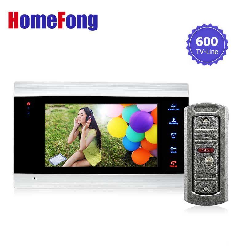 Homefong 7 inch video intercom door Phone Doorbell camera system 1 Monitor and 1 doorbell