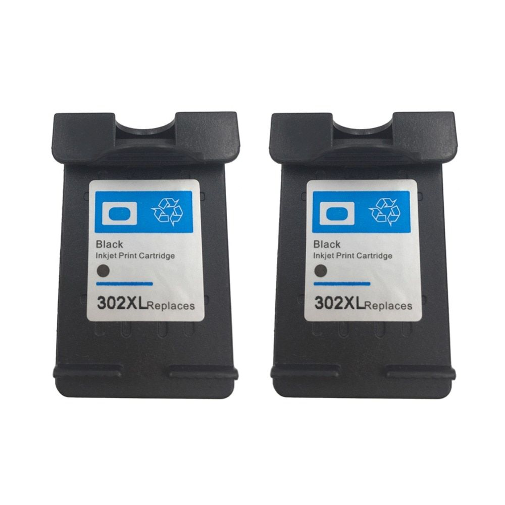 2Pcs Cartridge for HP 302 Black Ink Cartridge 302 XL 302XL for HP OfficeJet 3830 3834 4650 Deskjet 1110 1115 2130 2134 2135 3630