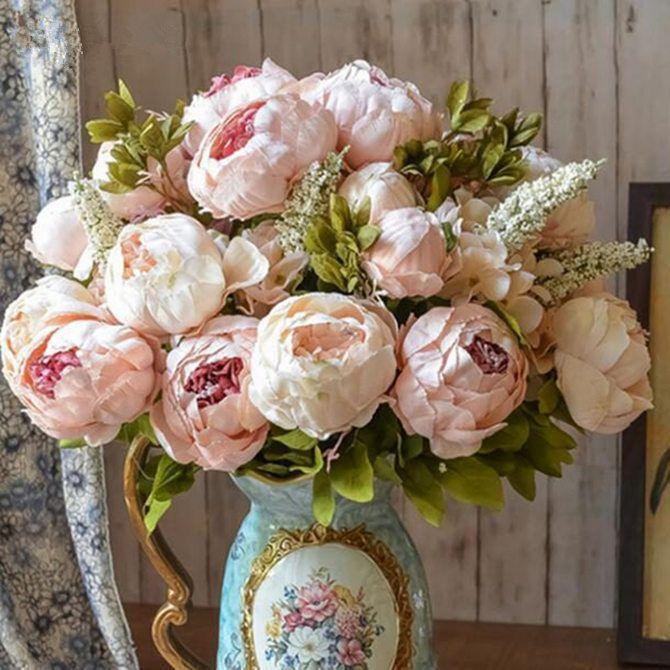 1 bouquet européen artificielle pivoine décorative fête soie faux fleurs pivoines pour la maison hôtel décor bricolage décoration de mariage couronne