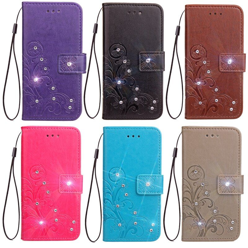 Case For ZTE Blade V 8 Phone cases bag Wallet PU Leather For Coque ZTE Blade V8 case cover Flip Stand Glitter Diamond
