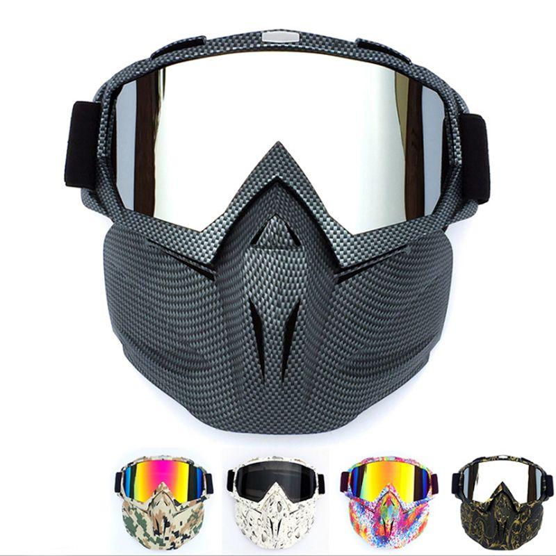 Ski Vélo Moto Visage Masque Lunettes Motocross Moto Moteur Open Face Amovible Lunettes Casques Vintage Lunettes Universelle