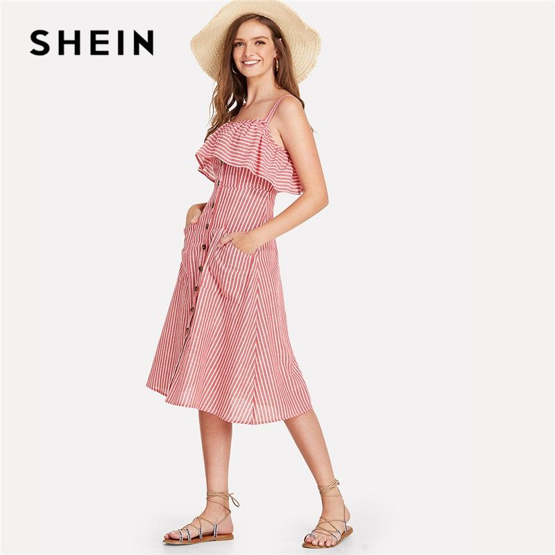 SHEIN <font><b>Button</b></font> Up Flounce Trim Striped Dress 2018 Summer Spaghetti Strap Sleeveless High Waist Youthful Dress Girl Preppy Dress