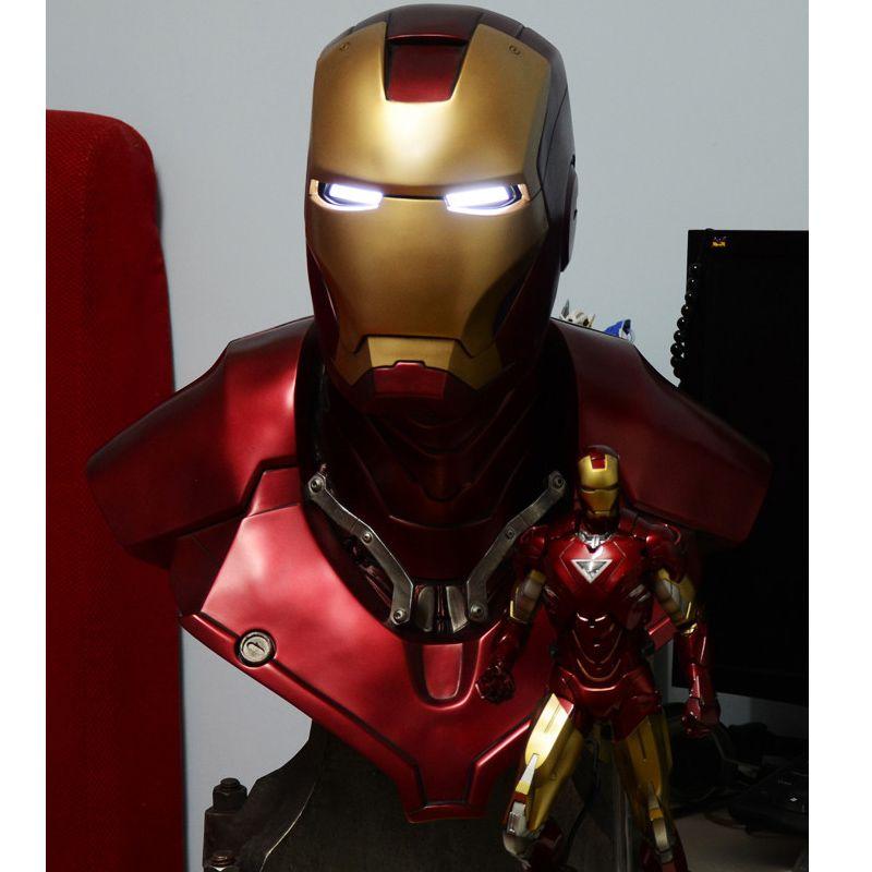 1:1 skala Iron Man Sideshow MK3 Tony Strak (LEBEN GRÖßE) GROßE Statue Resin BÜSTE Mit Led Auge 61 cm H