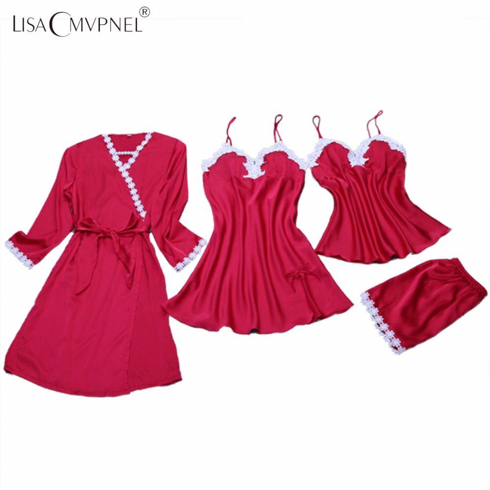 Lisacmvpnel 4 шт. пикантные Кружево Для женщин Банное Бельё для мужчин с подкладкой из 2 предметов ночная рубашка + халат Наборы брюк Для женщин хал...