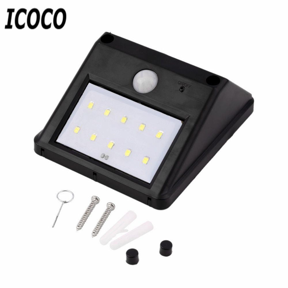 ICOCO High Quality 10 LED Solar Power PIR Motion Sensor Wall Light Outdoor Waterproof Garden Lamp Energy Saving Pathway Lighting