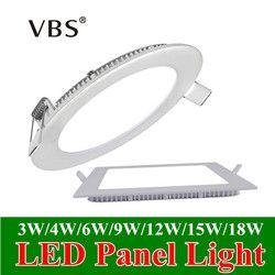 Ultra Mince Panneau de Led Downlight 3 w 4 w 6 w 9 w 12 w 15 w 18 w Rond/Carré LED Plafond Encastré Lumière AC85-265V Panneau Lumineux LED SMD2835