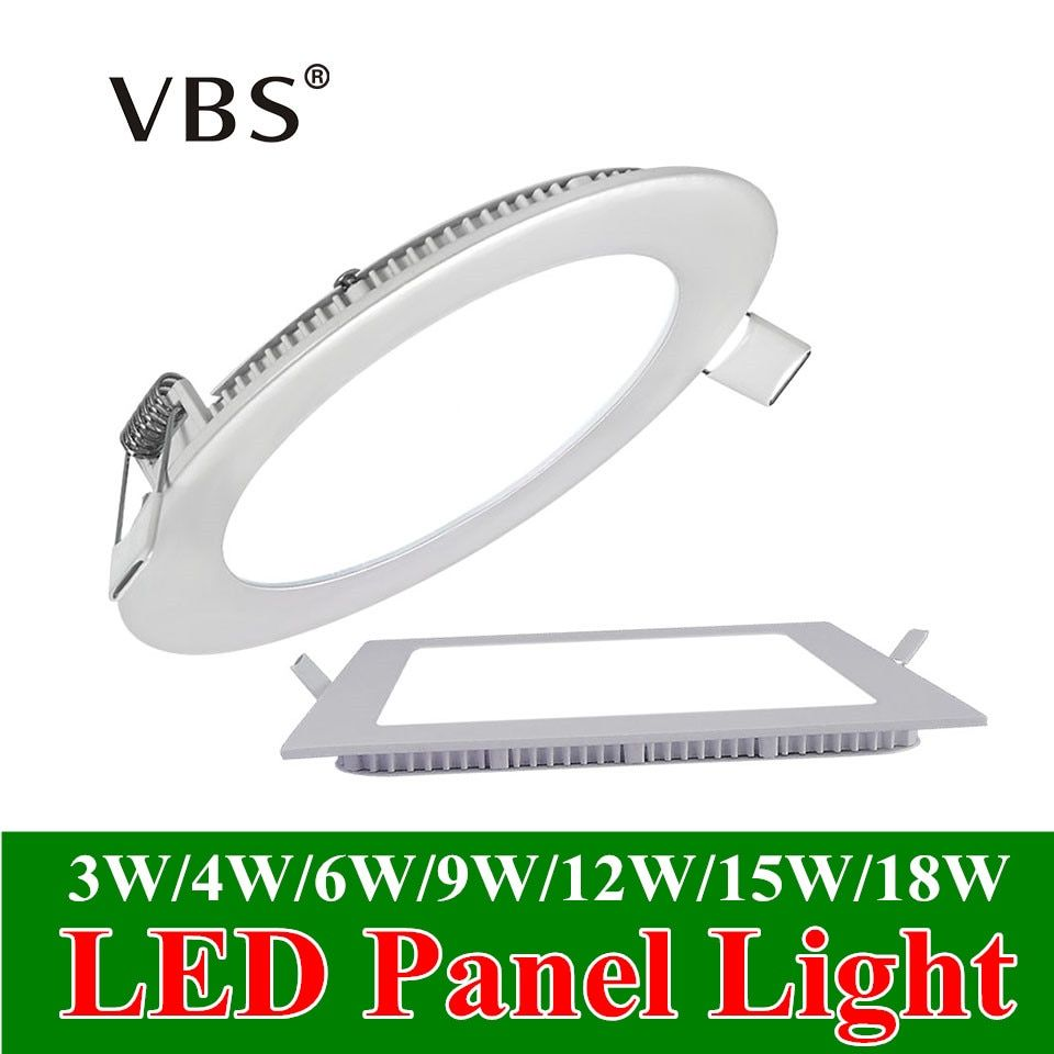Ultra Thin Led Panel Downlight 3w 4w 6w 9w 12w 15w 18w Round/Square LED Ceiling Recessed Light AC85-265V LED Panel Light SMD2835