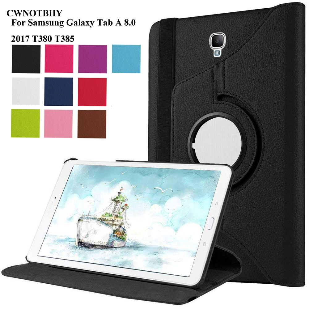 PU Leather Case for Samsung Galaxy Tab A 8.0 2017 Cover for SM-T380 SM-T385 T380 T385 8 Inch Tablet 360 Degree Rotating+Pen