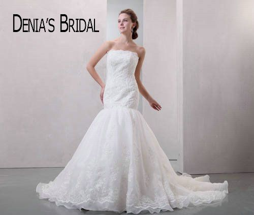Graceful Mermaid Wedding Dresses Real Image Applique Strapless Court Train Bridal Gowns