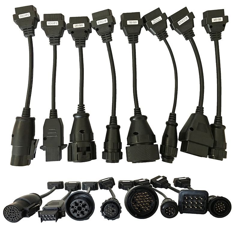 Full Set 8 Truck Cables OBD2 Diagnostic OBD OBDII OBD 2 Connecter Cable For TCS CDP Pro cable connecter