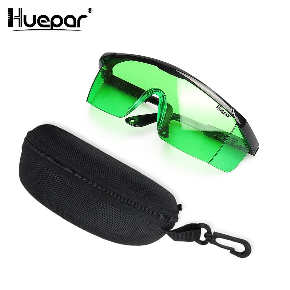Huepar Safety Laser Enhancement Glasses Green Adjustable Protection Eyewear Goggle Glasses With Hard Case For Line/Rotary Lasers