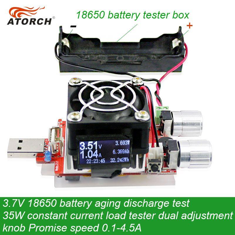 ATORCH 3.7V 18650 Test de décharge de vieillissement de la batterie 35W courant Constant double bouton réglable testeur de charge DC USB testeur 0.1-4.5A