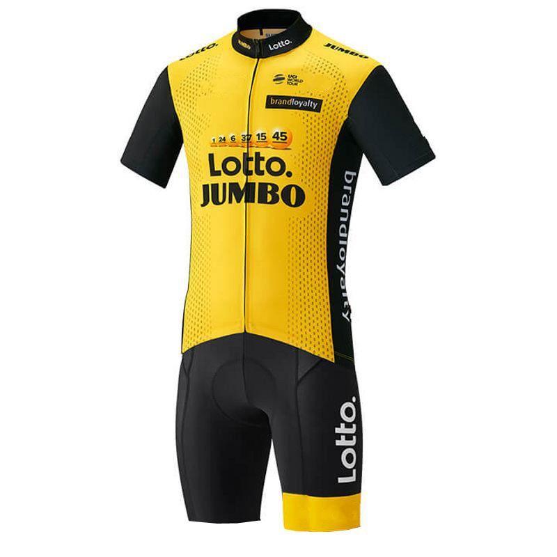 pro team lotto yellow aero Cycling skinsuit one piece Short sleeve summer bodysuit bike clothing MTB Ropa Ciclismo speedsuit
