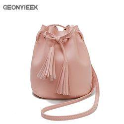 Women Bag Shoulder Crossbody Bucket Bags for Women 2018 Summer Tassel Women Bags Leather Purses Luxury Handbags Famous Brand