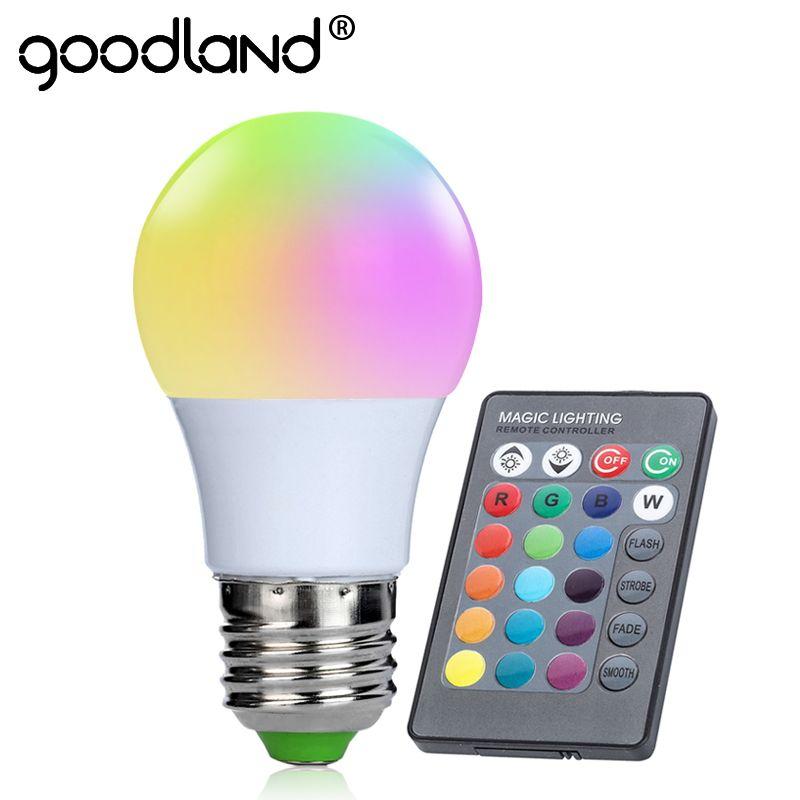 Goodland E27 RGB LED Bombilla 3 W RGB LED lámpara 220 V 110 V luz LED 16 color 24 clave ir Control remoto para sala