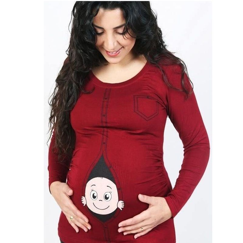 New 2017 Maternity pregnancy clothes Cartoon Baby Peeking Out Funny Maternity Pregnant T Shirt Plus size 3XL 4XL 5XL Tops Tees