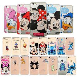 JeKacci suave claro TPU teléfono caso para Apple iPhone 6 s 6 más 5 5S 8 X Mickey Mouse beso minnie contraportada para iPhone 7 caso regalos
