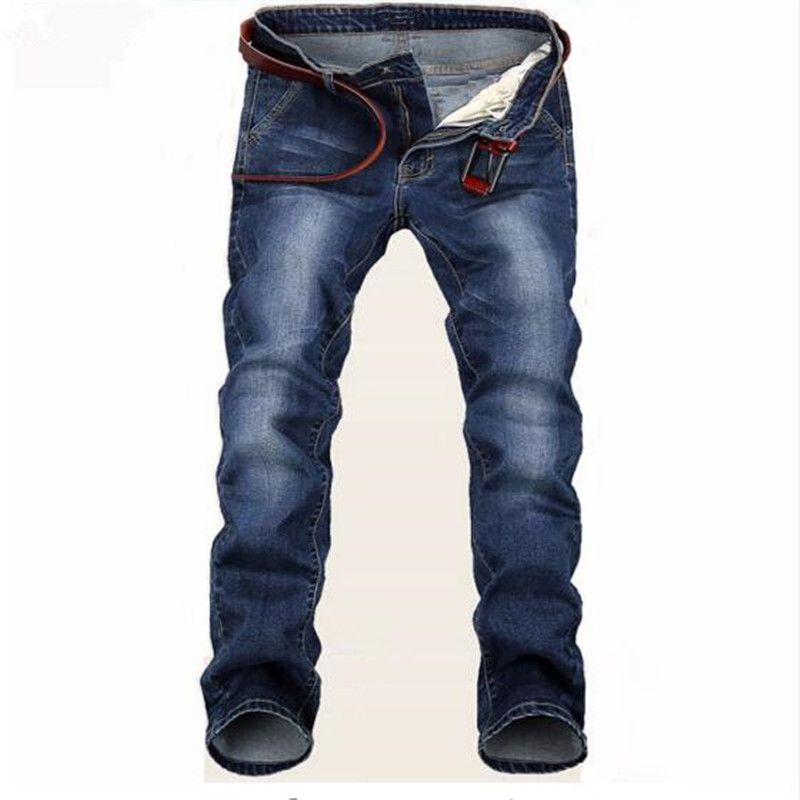 Free Delivery 2018 New Large Blue Elastic Men Jeans Slim Fit Straight Denim Pants Cheap Price Men's Jean Skinny Homme