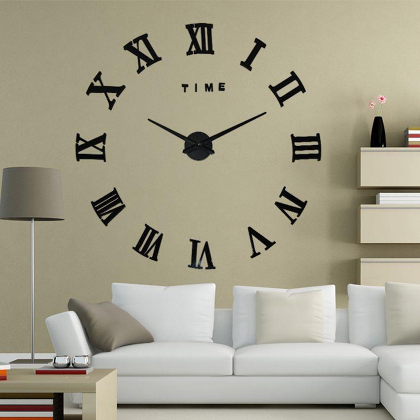 2017 Nueva Moda Tamaño Grande Reloj de Pared Espejo de Pared Sticker Decoración Del Hogar Relojes de Pared Reloj de Pared de La Sala El Envío Libre