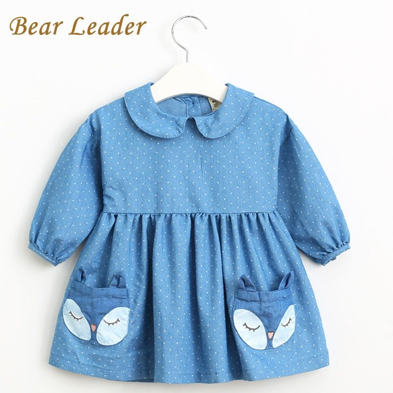 Bear Leader Spring Denim Dress 2018 New Girls Dress Long Sleeve Lapel Dot Fox Pattern Pocket Design for Princess Dress 2-6Y