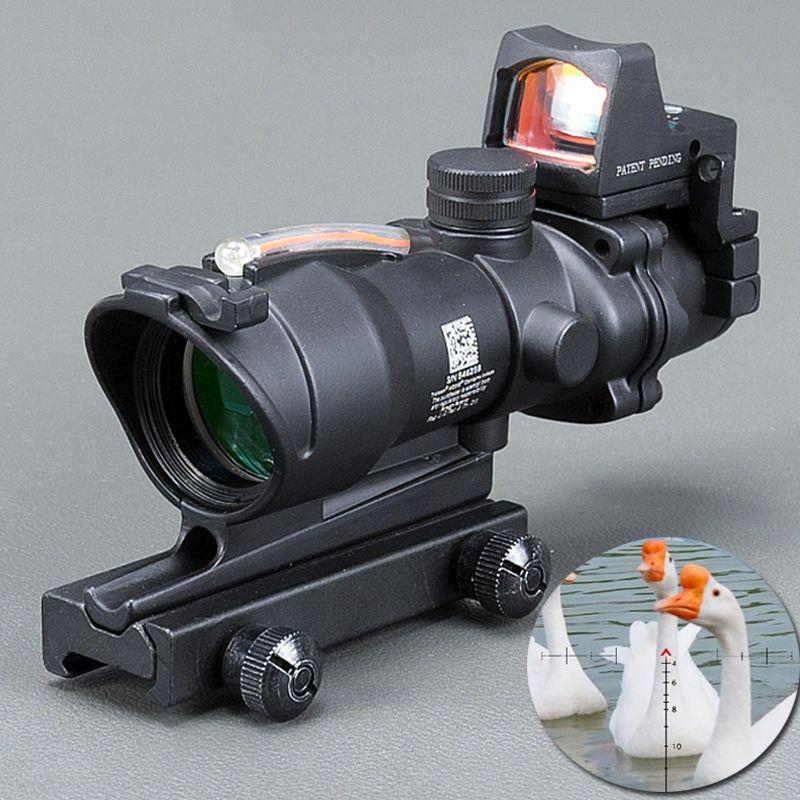 Acog 4x32 Optic Scope Riflescope Cahevron Reticle Fiber Green Red Illuminated Optic Sight With Rmr Mini Red Dot Sight