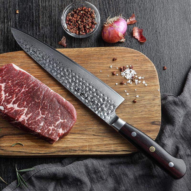 HEZHEN 8,5 ''Chef Messer Berufs Küche Messer Super Sharp Japanischen Damaskus Stahl VG10 Metzger Messer Dalbergia Griff