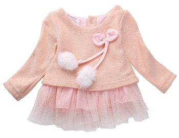 Newborn Baby Girls Dress Knit Sweater Tops Lace Bowknot Dresses Clothing 0-24M kids dresses for girls One-Piece Clothes girls