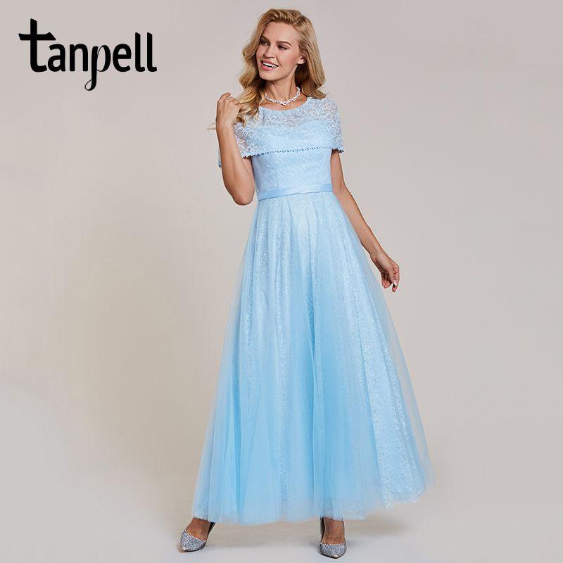 Tanpell scoop evening dresses sky blue a line floor length zipper up dress cheap lace long black formal graduation evening dress
