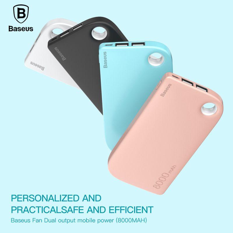 Baseus 8000 mah Banque De Puissance Double Sortie USB Charge rapide Batterie Externe Portative De Charge Pour iphone X 7 samsung S9 huawei xiaomi
