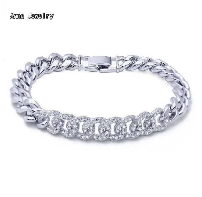 New Fashion Stylish Stones Chain Bracelet,Stainless Steel Link Chain with Clear Stones,Elegance Bracelet Bangle For Women Femme