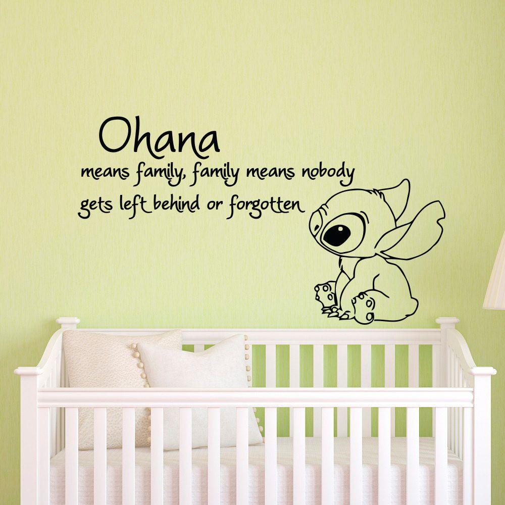 Ohana signifie famille signifie que personne n'est laissé derrière ou oublié Lilo et point Stickers muraux vinyle bébé pépinière Stickers muraux JW045