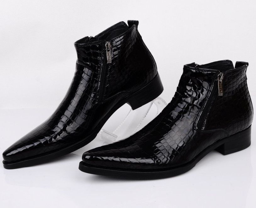 Large Size EUR46 Serpentine Blue / Black Pointed To Dress Shoes Mens Ankle Boots Genuine Leather Boots Male Wedding Shoes