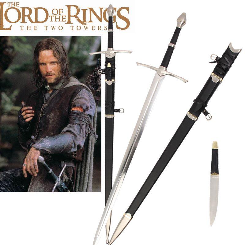 Film le seigneur des anneaux Strider Ranger Aragorn véritable épée épée médiévale en acier inoxydable pas de forte nouvelle offre