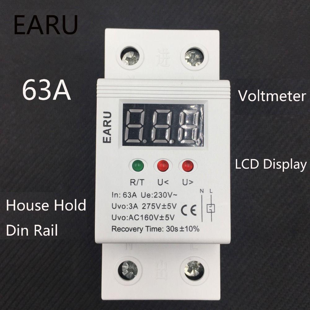 63A 220 v automatique reconnecter sur tension et sous la protection de tension dispositif de protection relais avec Voltmètre moniteur de tension