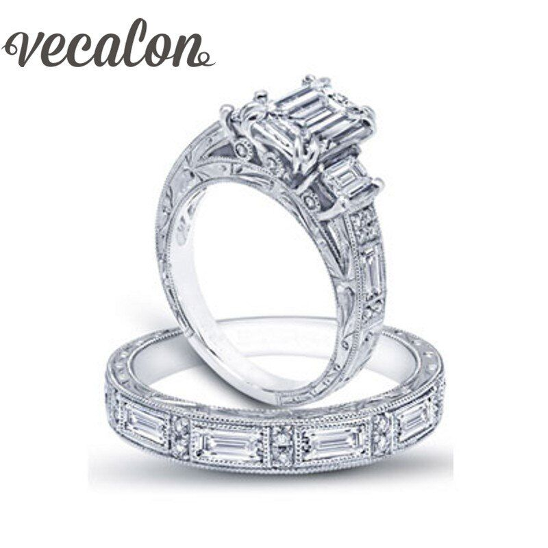 Vecalon Vintage Luxury Jewelry Women ring Princess cut AAAAA Zircon Cz 925 Sterling Silver wedding Band ring Set for women