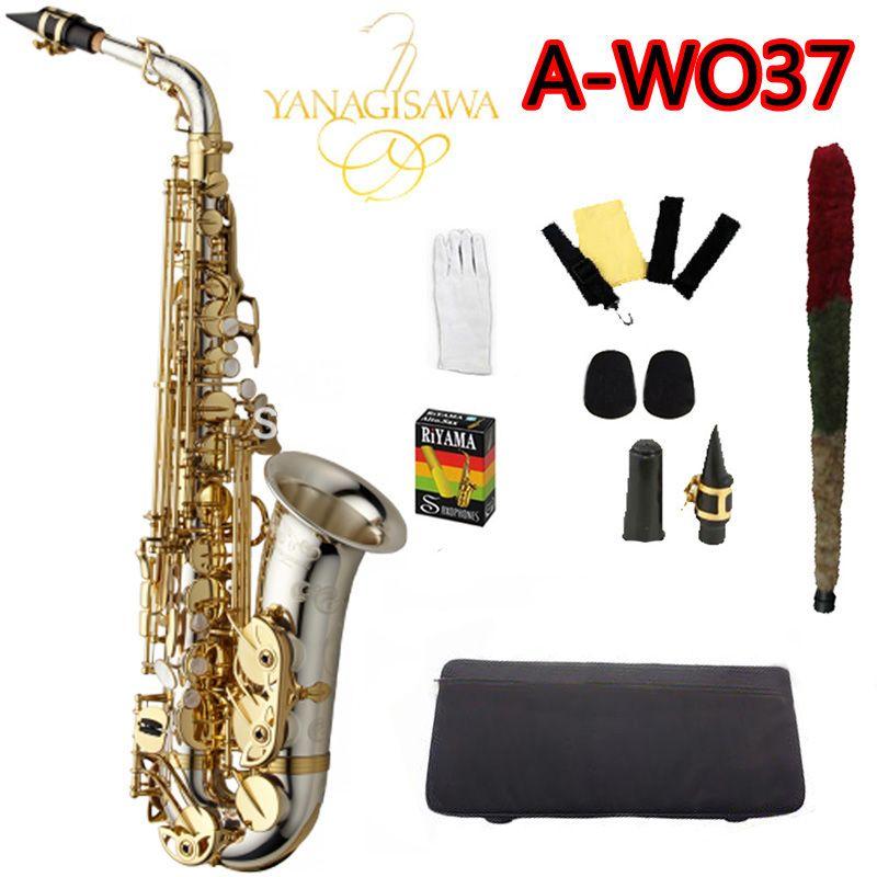 Профессиональный альт Саксофоны Янагисава A-WO37 серебро Никель покрытием Gold Key sax мундштук с Чехол и доступа