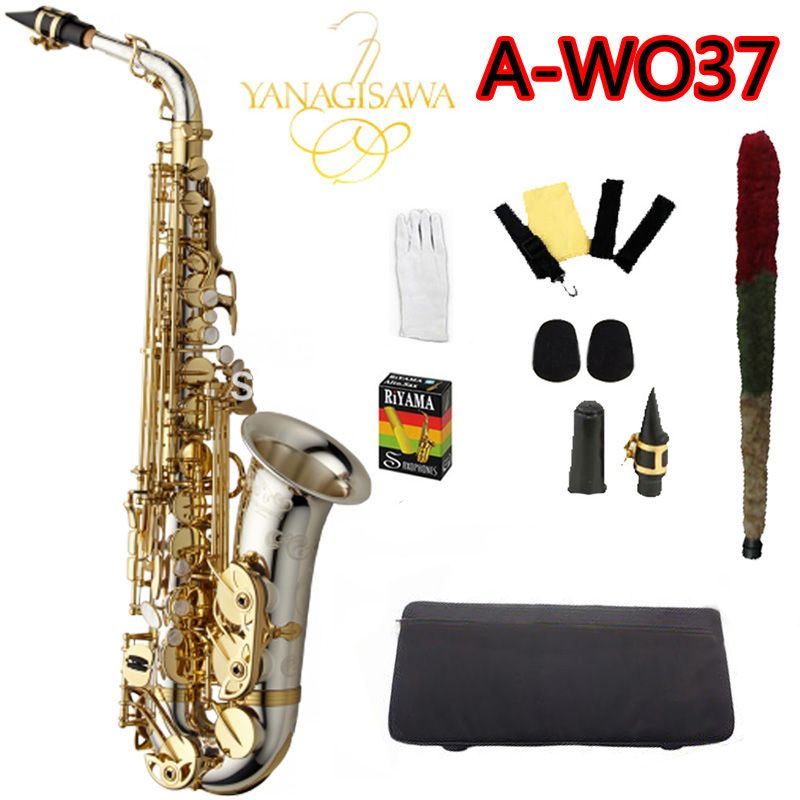 Professional Alto Saxophone YANAGISAWA A-WO37 Silver Nickel Plated Gold Key Sax Mouthpiece With Case and Accessor