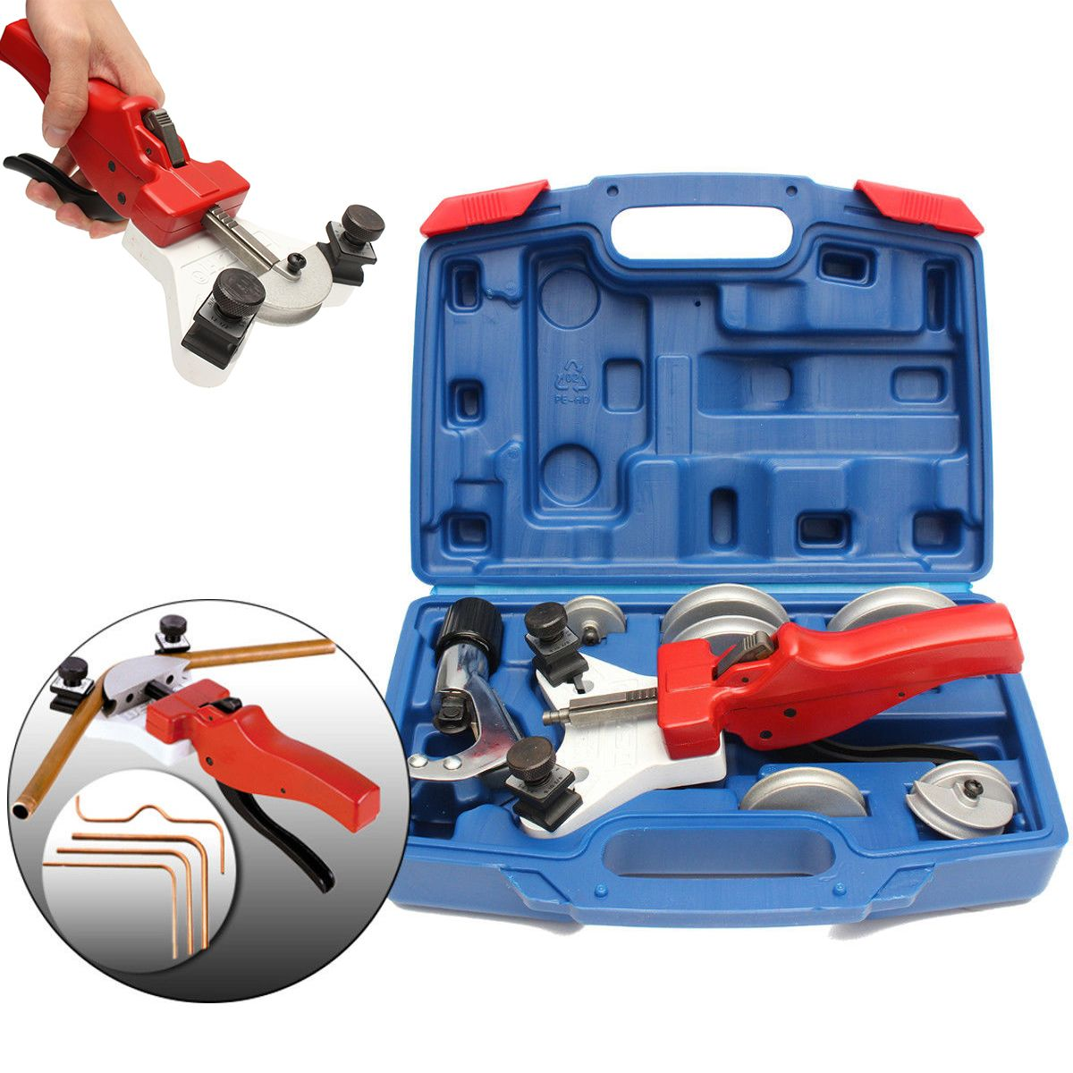 1 Set Manual Steel Pipe Tube Bender with Copper Cutter and Plastic Box For Cutting 15-22mm Tube