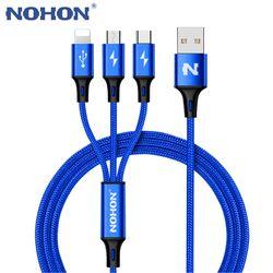 Nohon 3 en 1 Tipo C 8pin micro del cable USB para el iPhone 8x7 6 6 s más ios 10 9 8 Samsung Nokia USB carga rápida Cables cable