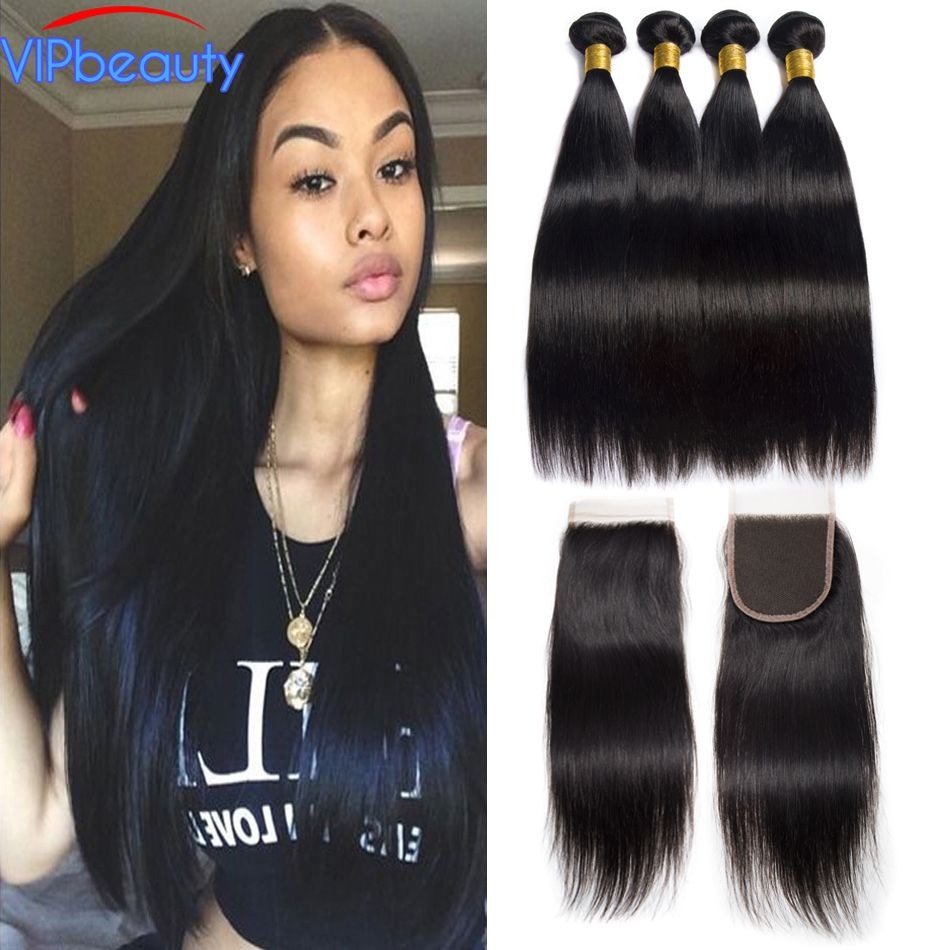 Human Hair Bundles With Closure Vip beauty Straight Peruvian Hair Bundles with Closure Human Hair Bundles Non Remy Hair