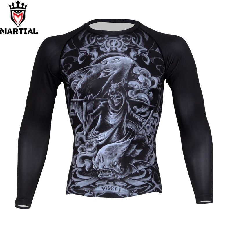 Martial: Pisces sublimation bjj rashguards boxing shirt running shirt men long sleeve gym shirt sweatshirt outdoor shirt
