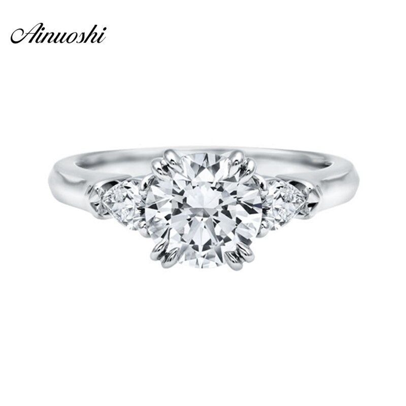 Luxruy 925 Solid Sterling Silver Ring 2 Ct Round Cut Three Stones Ring Band Synthetic Sona Ring for Women Wedding Engagement
