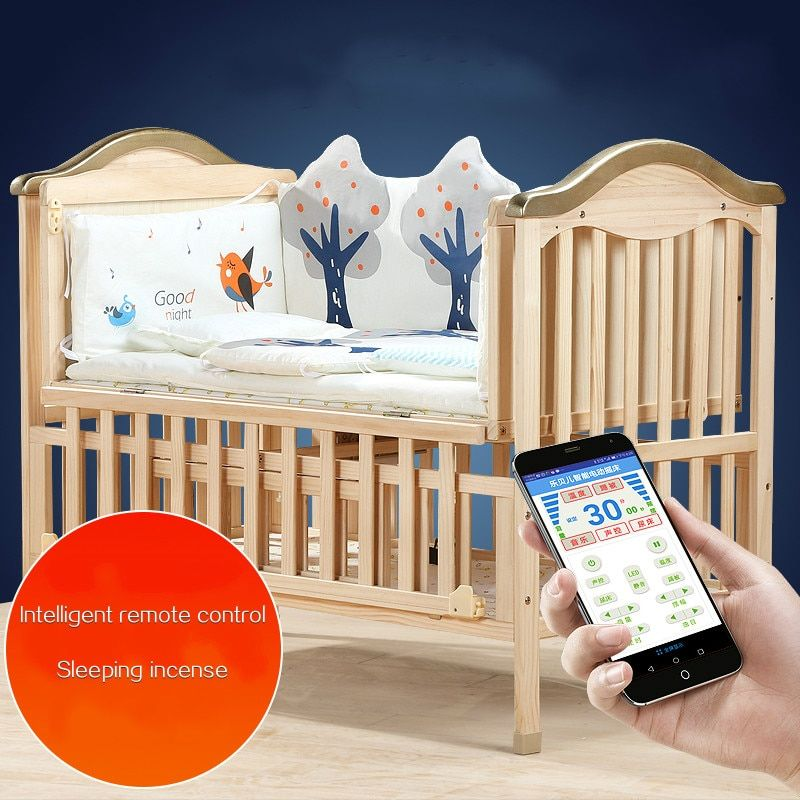 Eco-friendly Baby Crib Solid Wood Intelligent Remote Electric Rocking Newborn cradle bed Multifunctional Baby BB Stitching Cot