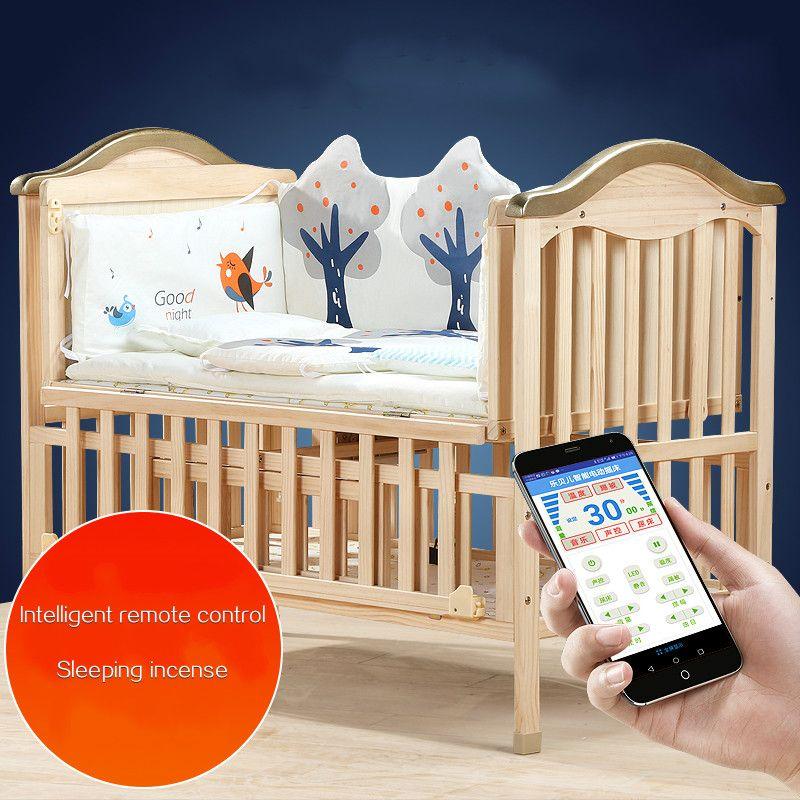 Umweltfreundliche Baby Krippe Massivholz Intelligente Fernbedienung Elektrische Schaukel Neugeborenen wiege bett Multifunktionale Baby BB Nähte Kinderbett